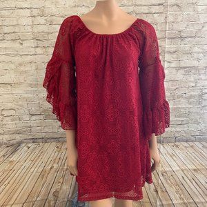 VGC 2Tee Couture Red Lace Tunic Dress SZ S